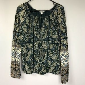 Lucky Brand Forest Green Floral Tassel Tunic Sz S